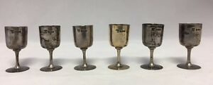 Six Sterling Silver Cordials Shot Glass Glasses Goblets Aspey London 1905