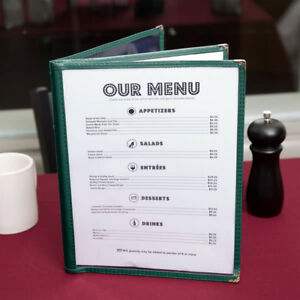 10 pack 8 1 2 X 11 Green Three Pocket Clear Restaurant Menu Covers