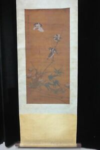 Very Rare Long Old Chinese Scroll Hand Painting Flowers Birds Signed Fachang