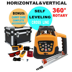500m Range Self leveling Rotary Red Beam Laser Level Kit 1 65m Tripod 5m Staff
