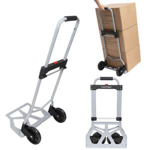 220lbs Fold Shopping Load Cart Luggage Trolley Hand Truck Dolly Wheel Silver