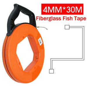 Hot 30m Fiberglass Fish Tape Reel Conduit Ducting Rodder Pulling Wire Cable