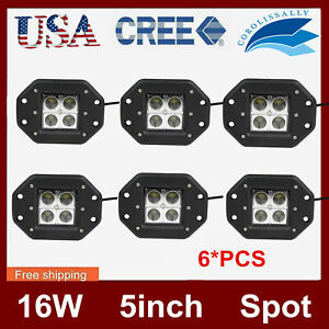 6x 5 Flush Mount 24w Led Pod Lights For Truck Off road Atv Spot Beam 4x4wd Suv