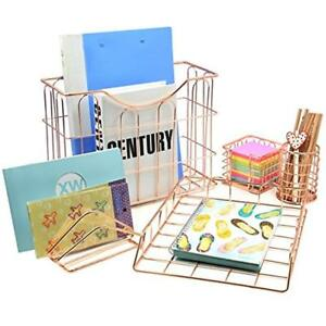 Wire Metal 5 In 1 Desk Organizer Set Letter Sorter Pencil Holder Stick Note