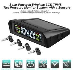 Solar Power Lcd Car Auto Tpms Tyre Tire Pressure Monitoring System With 4 Sensor