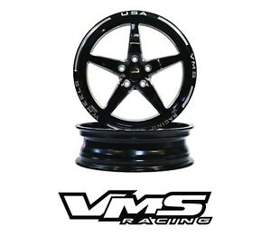 2 Vms Racing Star 5 Spoke Front Drag Rims Wheels 18x5 Skinnies For 15 19 Mustang