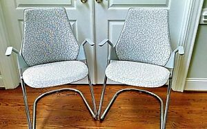 Pair Herman Miller sayl Chair W sled Base Gray White Mid century Fabric Euc