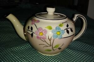 Antique English China Teapot Pink White Gold Hand Painted Blue Pink Flowers Ex