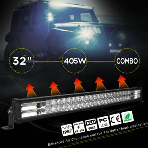 52 300w Red Led Light Bar Flood Spot Offroad Driving Light 4wd Free Wiring