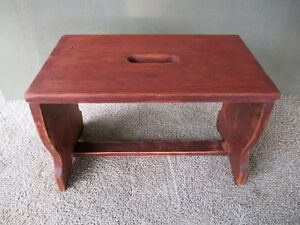 Antique Foot Stool Dovetailed Vtg Pine Wood Bench Footstool 17 1 2 Red Paint