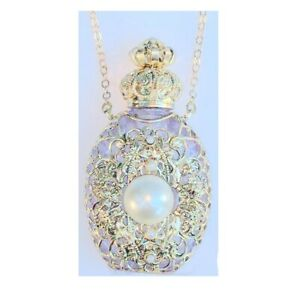Czech Victorian Style Decorative Perfume Oil Holy Water Bottle Holder Necklace S