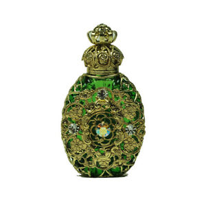 Czech Jeweled Decorative Green Perfume Oil Bottle Holder