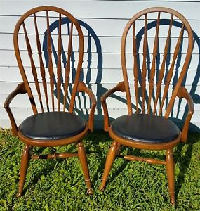 Pair Vtg Mid Century 1954 Thomasville Bentwood Windsor Dining Armchairs Bowback
