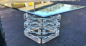 Vtg Lucite Acrylic Block Stacked Beveled Dining Gaming Table W Hexagon Glass Top