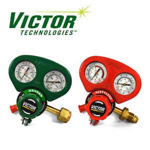 Set Of Medium Duty Victor Oxygen Acetylene Regulators W Metal Gauge Guards