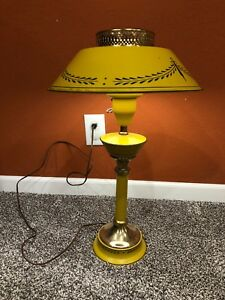 Large Vintage Mustard Yellow Tole Metal Table Library Lamp