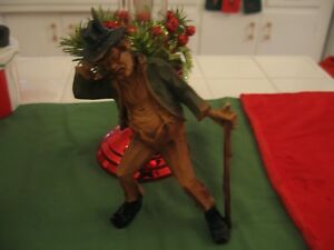 Vintage Hand Carved Statue Old Man With A Walking Stick Figurine Figure