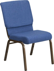 10 Pack 18 5 Wide Blue Fabric Stacking Church Chair With Silver Vein Frame