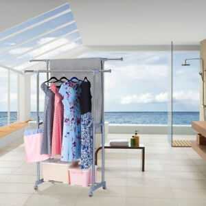 Double Rolling Garment Rack Closet Organizer Shelf Rolling Stable Clothes Hanger