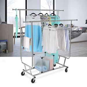 Adjustable Double Rail Rolling Garment Rack Clothing Rack Hanging Collapsible Us