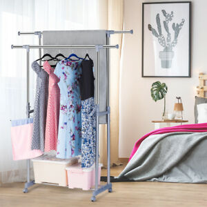 Adjustable Double Garment Rack Clothes Portable Hanging Rail Hanger Heavy Duty