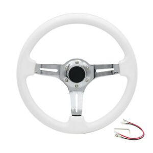 14 350mm Abs Deep Dished Racing Steering Wheel Drifting Chrome Silver