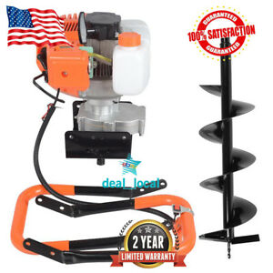 2 2hp Gas Powered Post Hole Digger With 8 Earth Auger 52cc Power Engine 1 2l Us
