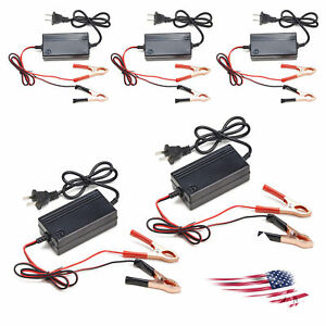 5pc Portable 12v Battery Charger Motorcycle Car Atv Boat Maintainer Mode Tender