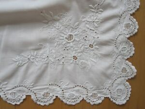 Pair Antique Edwardian Victorian White Embroidered Layover Pillow Covers Shams