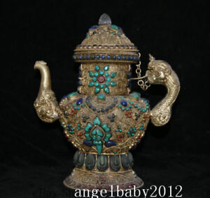 12 Oid Tibet Nepal Silver Wire Inlay Crystal Turquoise Dragon Handle Wine Pot