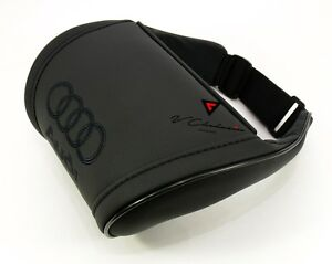 Audi Car Seat Headrest Pillow Neck Rest Cushion Black Leather Embroidery Black