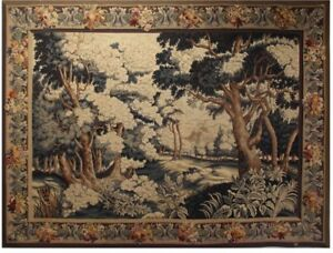 Antique Tapestry Signed Aubusson Circa 1880 Wool And Silk