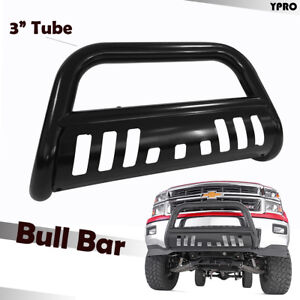 Black 3 Inch Bull Bar With Skid Plate Grilles Guard For 2015 2020 Chevy Colorado