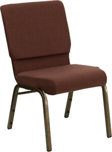 10 Pack 18 5 Wide Brown Fabric Stacking Church Chair With Gold Vein Frame