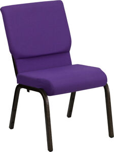 10 Pack 18 5 Wide Purple Fabric Stacking Church Chair With Gold Vein Frame