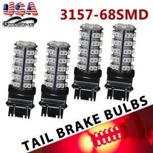 4x Red 3157 3156 68 Smd High Power 3528 Chip Brake Tail Led Blinker Light Bulbs