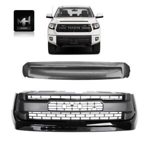 For Toyota Tundra Trd Pro Gloss Black Front Grill And Bulge Years 14 To 18
