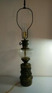 Antique Vintage Pressed Glass And Fancy Brass Base Victorian Table Lamp 33 Tall