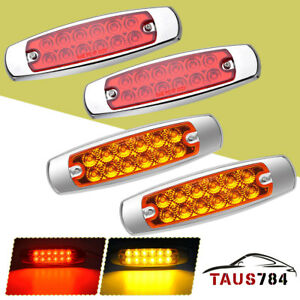 12 Led Sealed Side Marker Clearance Light Lamp Fish Shape Trailer 2 Red 2 Amber