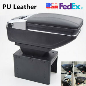 Durable Car styling Car Armrest Box Covers Center Console Pads Black Pu Leather