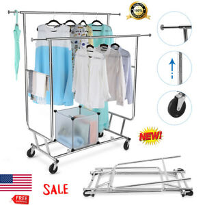 Collapsible Collapsible Double Rail Rolling Hanging Rack Heavy Duty Hanger Stand