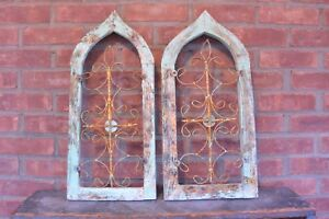 Gothic Arched Wood Window Sash With Scroll Grate Lot Of 2 Shabby 10 5 X 22