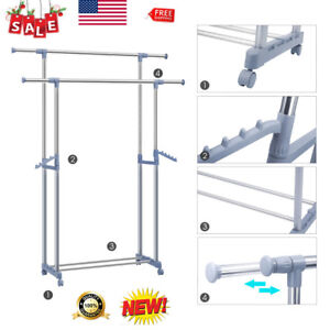 Double Garment Rack Clothes Portable Hanging Rail Wheels By Home Laundry Stand
