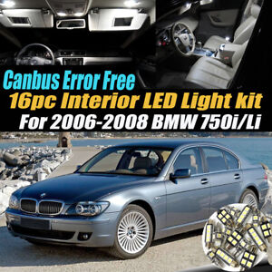 16pc 2006 2008 Bmw 750i Li Canbus Error Free Car Interior Led White Light Kit
