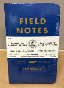 Field Notes county Fair Tennessee Sealed 3 pack Memo Notebooks Pads