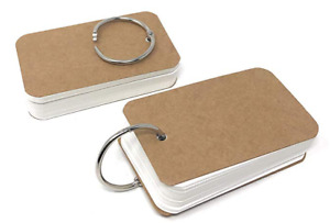 Pack Of 2 Blank Flash Note Study Index Cards Punched Hole Metal Binder Ring