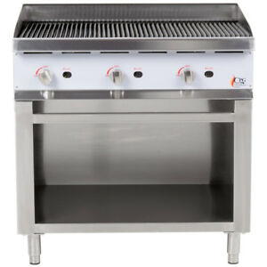 36 Natural Gas Radiant Freestanding Restaurant Charbroiler With Cabinet Base