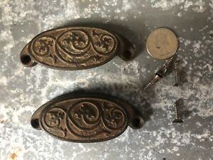 Vintage Pair Of Ornate Victorian Cast Iron Drawer Bin Pulls Dated 1873 Old
