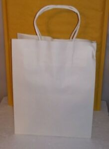 100 Bulk White Paper Bags With Handles 10 X 8 X 4 75 Gifts Takeouts S 75