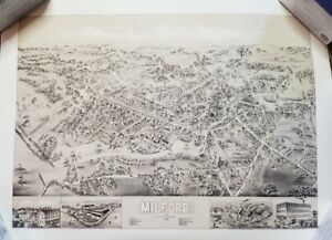 View Of Milford Connecticut Print By O H Bailey Co 1882 Reprint 22x28